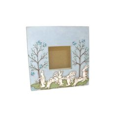 Fairy Bunnies On Ikea Mirror Hand Painted Spring Bunny Scene ($33) found on Polyvore