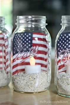 Easy Mason Jar American Flag Candle. Red White Blue Mason Jar Craft Ideas. Patriotic Mason Jar Crafts. Memorial Day Crafts. Fourth of July crafts with jars.