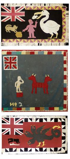 Africa | Three Fante Asafo flags from Ghana | Cotton appliqué || Sotheby's; Alistair McAlpine Textiles Sale, Part II. Lot 167, 201 and 166