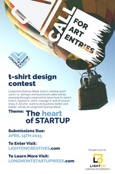 Call for entries, t-shirt design contest for Longmont Startup Week 2015