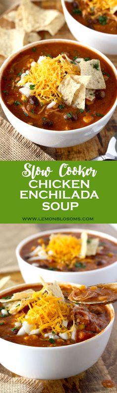 This Slow Cooker Chicken Enchilada Soup is bursting with flavor! Cheesy, creamy and full of shredded chicken, black beans and corn. With only 10 minutes of prep time this soup is pure comfort in a bowl! via @lmnblossoms