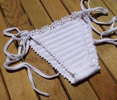 white tie bikini crochet bikini bottom swimsuit by senoAccessory