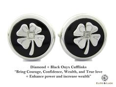 """Diamond + Black Onyx Sterling Silver Cufflinks, Rhodium plated, Lucky Model """"Bring Courage, Confidence, Wealth, and True love + Enhance power and increase wealth"""" *** Combine 2 Gemstone Powers to double your LUCK ***"""