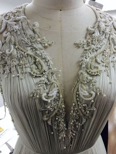 Hand beading on the Whitney gown #beading #design #catherinedeane #embellishment