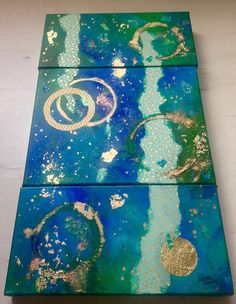 Small green blue abstract painting  Multi-piece art