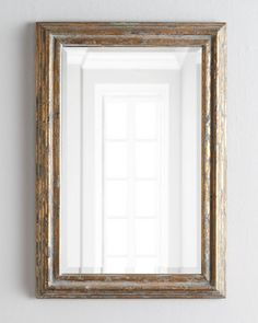 Carraway Mirror Handcrafted of Wood w/ generous 1.25 bevel distressed antiqued-golden finish w/ gray & charcoal undertones 40 x 28