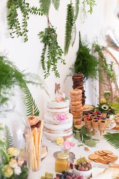 green wedding dessert display