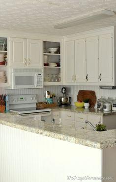 How to install a DIY beadboard backsplash (Kitchen Makeover) Kitchen Cabinets Repair, Laminate Cabinets, Kitchen Redo, New Kitchen, Kitchen Remodel, Kitchen Design, Kitchen Ideas, Bathroom Cabinets, Beige Kitchen