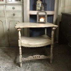 Antique/Vintage Grey Hand Painted Tudor Style Leather Monk's Chair Side Table | Shop | Crown Cottage Somerset - Antique & Vintage furniture hand painted in the unique style best suited for each piece