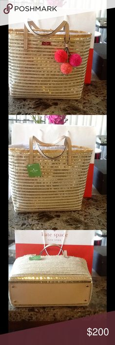 kate spade Straw Bag Collection❤️🌺🌸 Fun and flirty straw design with leather handles.  With zipped pockets and two slip pockets and bottom rivets.  Dimensions are 15x11.5x5.5 inches approx.  Pompoms fob are adorable! kate spade Bags Shoulder Bags