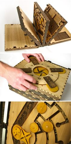 This Incredible Wooden Book Is a Series of Puzzles That Have to Be Solved to Continue Reading Wooden Books, Wooden Puzzles, Origami, Wooden Crafts, Diy And Crafts, Wood Projects, Woodworking Projects, Puzzle Books, Wood Countertops