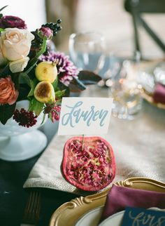 Pretty pomegranate place cards: http://www.stylemepretty.com/collection/2835/