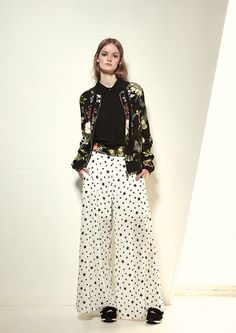 Naughty Dog SS17 flower printed cardigan, black shirt and stars pattern pants
