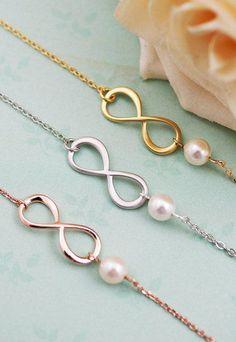 Infinity and Swarovski Pearl bracelet
