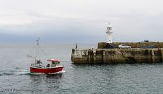 Fishing Boat Entering Outer Harbour - Megavissey, Cornwall, England, UK