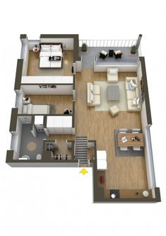Plano apartamento pequeño dos dormitorios Remove the middle bedroom and shorten the livingroom Two Bedroom Floor Plan, Two Bedroom House, Two Bedroom Apartments, Cool Apartments, Apartment Bedrooms, Bedroom Small, Bedroom Loft, Trendy Bedroom, 3d House Plans