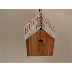 Ohio State Cedar Birdhouse License Plate Roof Handmade White With Red $49.99