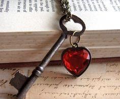 Items similar to Authentic Antique Skeleton Key And Heart Gem- Key To My Heart on Etsy Antique Keys, Vintage Keys, Vintage Jewelry, Antique Hardware, Vintage Brooches, Skeleton Key Jewelry, Skeleton Keys, Skeleton Key Crafts, My Funny Valentine