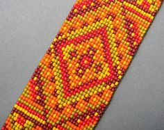 Wide multicolor beaded bracelet  seed bead by Anabel27shop on Etsy,