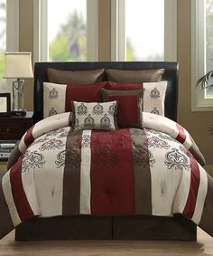 Take a look at this Red Granada Jacquard Stripe Comforter 8-Piece Set by Victoria Classics on @zulily today!