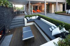 Comfortable Outdoor Seating Area for Cozy Patio : Awesome Backyard External Sitting Areas Custom Bench Outdoor Fireplace Outdoor Seating Areas, Garden Seating, Outdoor Lounge, Outdoor Rooms, Outdoor Living, Outdoor Decor, Deck Seating, Outdoor Patios, Outdoor Kitchens