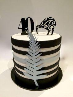 A Birthday Cake with a New Zealand theme. Alternate layers of white & choco… - Birthday Cake Blue Ideen Themed Birthday Cakes, 50th Birthday Party, Themed Cakes, Decorating Jobs, Easy Cake Decorating, Cupcakes, Cupcake Cakes, All Black Party, Kiwi Cake