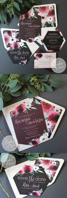 Geometric Boho Dark Watercolor Floral Wedding Invitation Hexagon Burgundy Blush Die Cut Romantic Envelope Liner Charcoal Cranberry Marsala