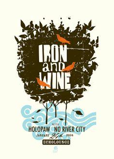 Design by Methane Studios / GigPosters.com - Holopaw - Iron And Wine - No River City
