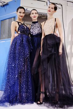 tulle goddesses:  Cora, Kati and Jac backstage at Jason Wu