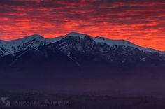 Sunset over the Tatra Mountains.