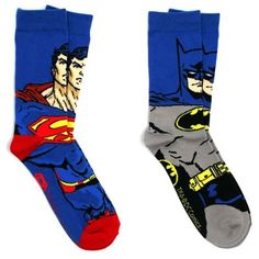 Some days you just can't decide whether to wear Batman socks or Superman socks. For those days you'll want to get these Batman and Superman Crew Socks. That way, you can wear one of each if you want.  You get 2 pairs. One Ba