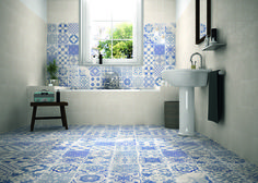 Awesome Mosaic Floor Bathroom Ideas Mosaic Floor Bathroom Skyros Delft Blue Wall And Floor Tile Wall Tiles From Tile Mountain Bathroom Floor Tiles, Wall And Floor Tiles, Wall Tiles, Tile Decals, Kitchen Floor, Tiles Uk, Concrete Bathroom, Flooring Tiles, Shower Floor