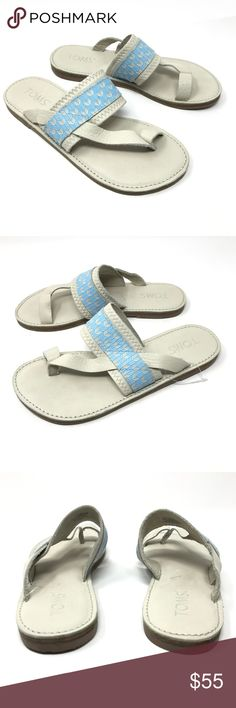 TOMS Isabela Flip Flop Sandals Women's Sz 6 NEW TOMS Isabela Flip Flop Sandals Women's Sz 6 Dove Blue Ivory Embossed Leather NEW  Size: 6M Color: Dove Blue & Ivory Style Name/Number: Isabela Flip Flop  Brand New without box or tags Toms Shoes Sandals