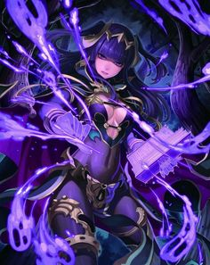 Anime picture fire emblem fire emblem awakening nintendo sarja terumii long hair single tall image looking at viewer fringe breasts purple eyes holding purple hair cleavage magic two side up girl gloves plant (plants) 432334 en Fantasy Anime, Fantasy Girl, Fire Emblem Fates, Fire Emblem Characters, Fantasy Characters, Character Concept, Character Art, Fire Emblem Awakening Tharja, Anime Krieger