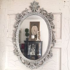 Distressed Oval Mirror White Shabby Chic Decorative Nursery Vintage Wall Mirror