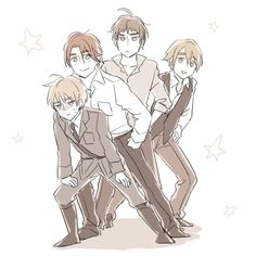 Hetalia - The Kirkland Brothers - Scotland / England / North Ireland / Wales <<< If they're being nice to me, it's because they're plotting against me.