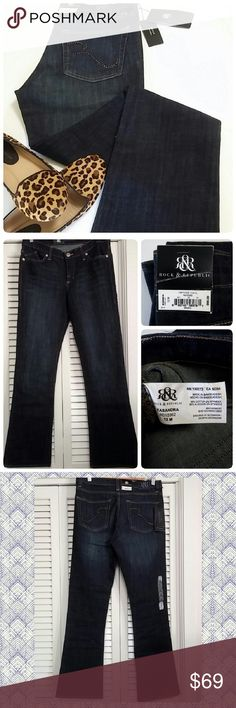"""New Rock & Republic Boot Cut Kasandra Jeans 12 Condition - New with Tags (retails for $88) - tags have shelf wear and are crinkled Brand: Rock & Republic Women's Size: 12 Misses Color: Dark Wash (Vintage Vinyl) Fit: Boot Cut Style Name: Kasandra Zippered Fly with Logo Rivet Closure Five Pocket Styling with Studded Bling Back Pocket Details Belt Loops 98% Cotton / 2% Spandex Made in Bangladesh  Fit/Measurement Guide:  17"""" flat / 34"""" doubled - waist 10"""" rise - top of waist to crotch seam 19""""…"""