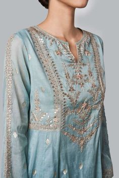 Ayaana Suit Designer Suits - Buy Ayaana Suit for Women Online - Blue - Anita Dongre Embroidery Suits Design, Embroidery Fashion, Pakistani Dress Design, Pakistani Dresses, Indian Wedding Outfits, Indian Outfits, Indian Attire, Indian Wear, Brocade Suits