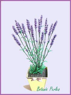 Fleurs en perles Lavande mauve en pot : Accessoires de maison par botanic-perles