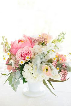 table centerpiece floral arrangement in a white vase Floral Centerpieces, Wedding Centerpieces, Wedding Bouquets, Wedding Decorations, Peonies Centerpiece, Wedding Arrangements, Floral Arrangements, Flower Arrangement, Floral Wedding