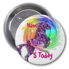 A beautiful Purple sparkle effect fantasy Unicorn jumping through a rainbow swirl; fabulous birthday button pin for a young girl and so easy to customize with her personal name. and age.