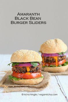 Smoky Amaranth Black Bean Burgers with Roasted Red Pepper sauce. Vegan Recipe | Vegan Richa