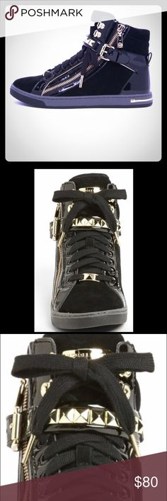 Michael Kors High Top Sneakers all black MK all black high top sneakers with gold stud trim. Only worn a few times. I own too many sneakers and trying to clear out my closet MICHAEL Michael Kors Shoes Sneakers