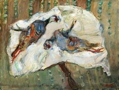 Chaim Soutine, Two Pheasants on a Table, c. 1926, oil on canvas, 19 3/4 x 25 1/2 inches (Private Collection)