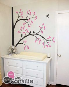 Nursery+corner+tree+decal+with+birds+–+Kids+room+decal