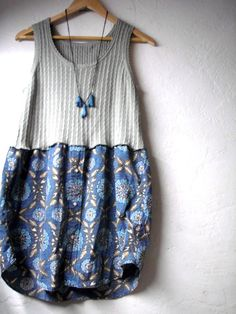 Funky Upcycled Shirt Dress/ Eco Dress/ Holly Hobby Womens Frock Dresses Tribal Batik I really like how it goes together! Really adorable >W