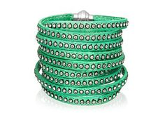 Bracelet Arezzo green leather with zirconia 160 cm