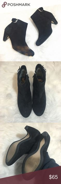 Sam Edelman Black Suede Ankle Booties Super cute and perfect for fall and winter! Excellent pre worn condition. Size 7.5. Cute ankle buckle detail. No trades!! 012101650csf Sam Edelman Shoes Ankle Boots & Booties