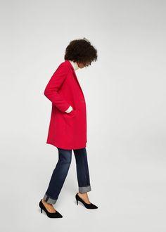 Sélection mode femme petite taille - La Petite Allure - Manteau rouge coupe  droite. Mango f59dbc52b52