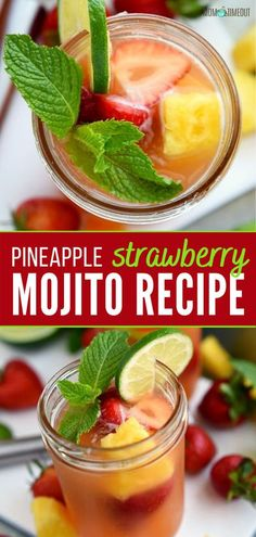 This fruity summer cocktail has it all! Pineapple Strawberry Mojito is great for serving up at any party. Perfectly cool, sweet, and 100% refreshing, this drink will be your new favorite way to cool down during the hot summer months ahead! Pin this recipe for later! Pineapple Mojito, Pineapple Cocktail, Strawberry Mojito, Summer Drink Recipes, Alcohol Drink Recipes, Cocktail Recipes, Cocktails, Alcoholic Beverages, Cocktail Drinks